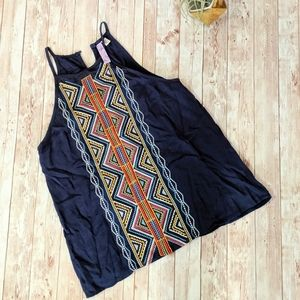 Blue Front Embroidey Tank with Colorful Pattern